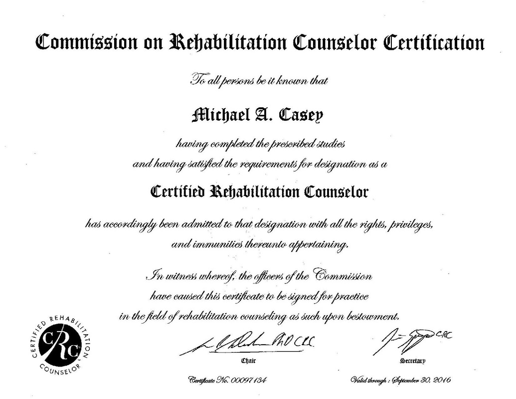 Certificationslicenses Michael Casey Ms Crc Aadc Lcas Cdf